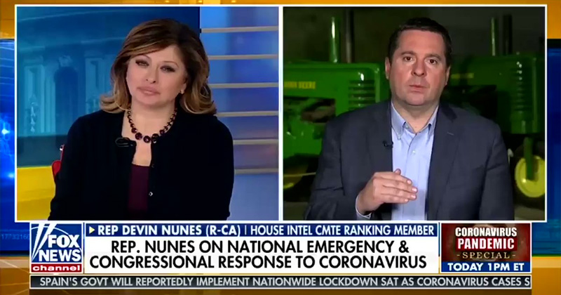 Devin Nunes just went on Fox News and told viewers, It's a great time to go out
