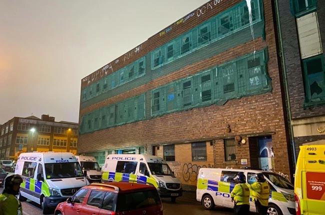 The illegal rave took place in a former tea factory in the Birmingham. (Image: @SnapperSK)