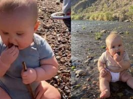 Mum lets her baby eat sand, rock, dirt to build 'immune system'